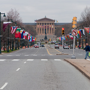 Philadelphia Museum of Art (northwest view along Benjamin Franklin Parkway).