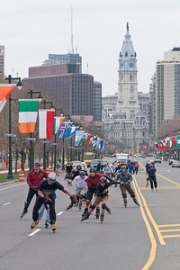 Group of rollerbladers on Benjamin Franklin Parkway (southeast view to Philadelphia City Hall).