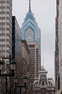 One Liberty Place (upper center building) and Philadelphia City Hall (lower center building).  View from Market Street.