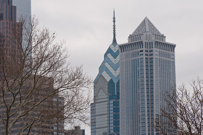 One Liberty Place (center background) and BNY Mellon Center (right), Philadelphia.
