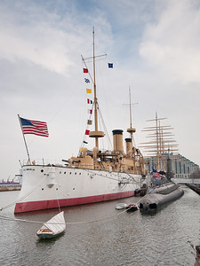 USS Olympia (cruiser) and USS Becuna (submarine) at Penn's Landing, Philadelphia.
