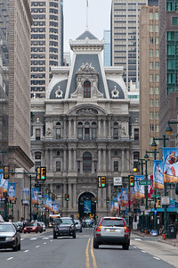 Philadelphia City Hall.  Westerly view from Market Street.