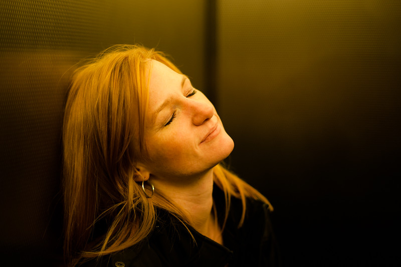 Marisa in an elevator in Philly