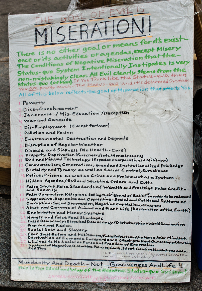 The Goal of Evil is Miseration! Photos from Occupy Philly