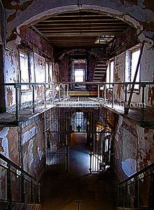 Eastern State Penitentiary, Philadelphia, PA Original prison built 1822-1836 on a radial plan by John Haviland.  Linking solitude with moral and vocational instruction, it exemplified the Pennsylvania system of penology and became a model for over 300 prisons worldwide. Closed in 1971