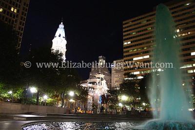 JFK Plaza and LOVE Statue at night, Philadelphia, PA