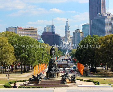View of Washington Monument, Ben Franklin Parkway, and Philadelphia, PA
