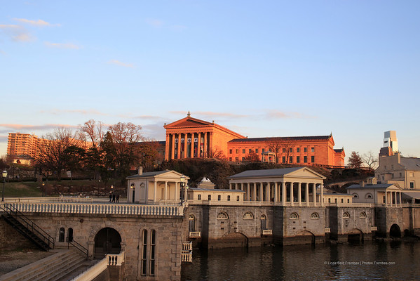 Fairmount Water Works in the foreground with the Philadelphia Museum of Art in the background.