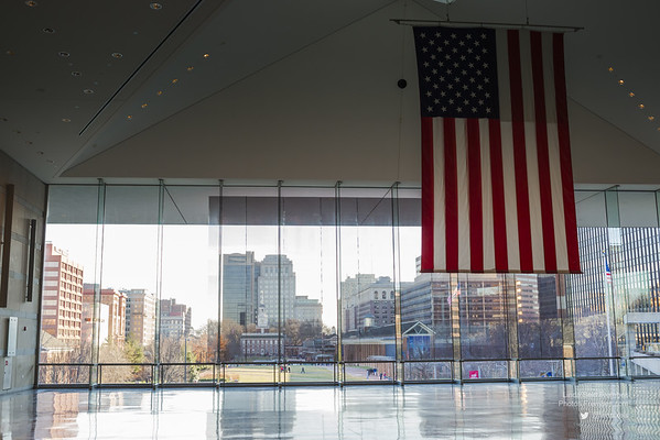 Looking out on the mall (Independence Hall is across the way) from inside the National Constitution Center.