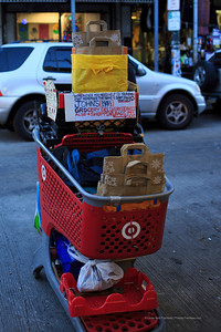 "This guy runs a grocery delivery service from this Target shopping cart. Sign says ""since 1991""."