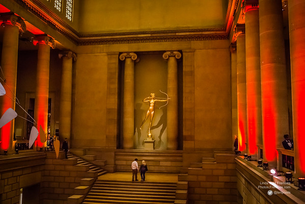 The Great Stair Hall at the Philadelphia Museum of Art, featuring a statue of Diana.