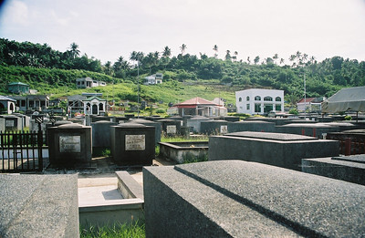 The cemetary.  Since the land is below sea level, graves are above ground or in mausoleums.
