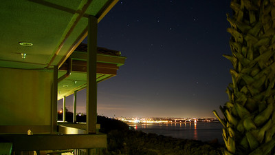 Evening shot looking onto the Pismo Beach Pier from Sheltered Cove.  ref: f983851b-e3d4-42b5-aa78-4c34ff3e20db