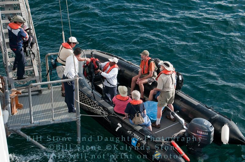 Offloading the Panga (zodiac)-Galapagos