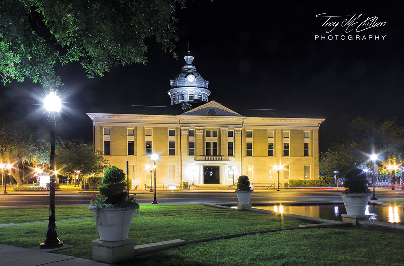 Historic Polk County Courthouse in Bartow, Florida at Night