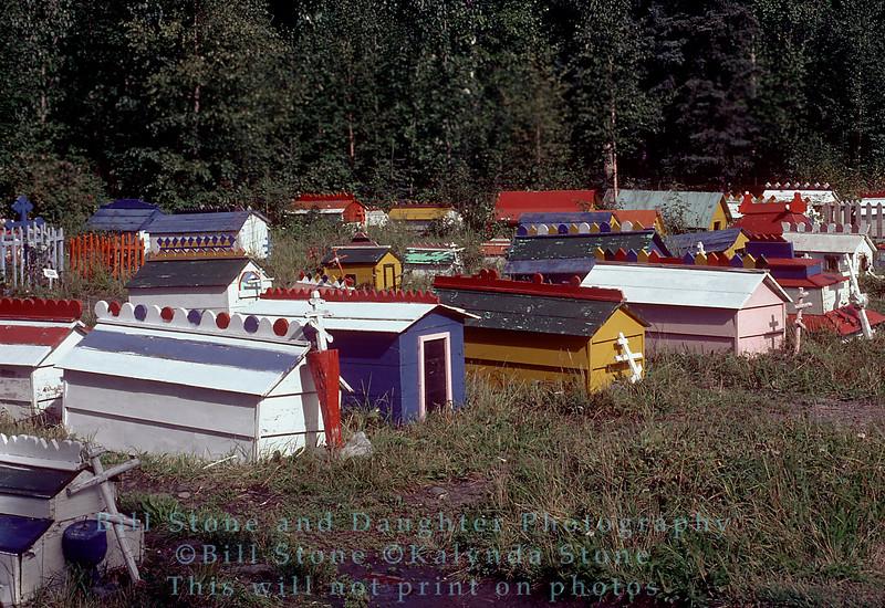 Spirit Houses in Cemetary in Eklunta, Alaska