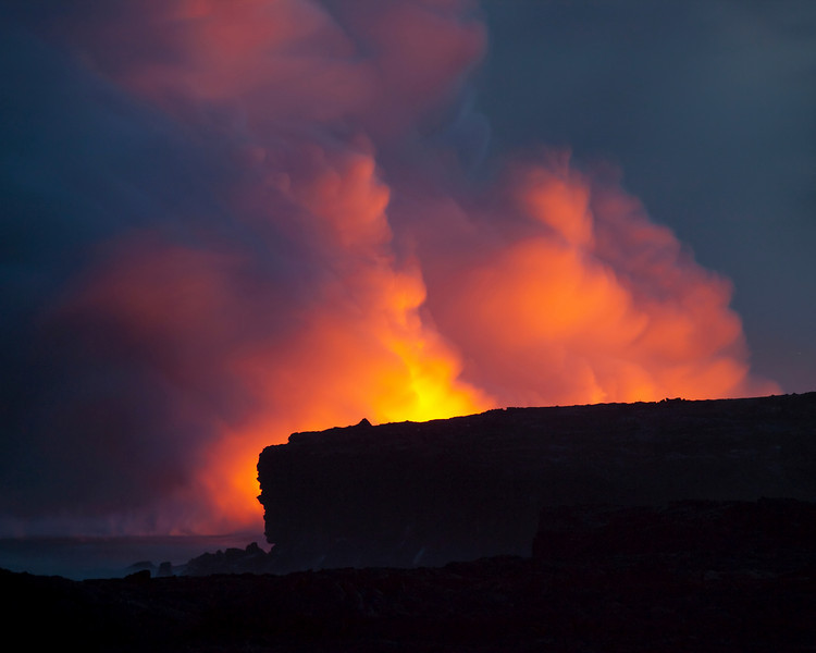 Lava meets the sea at Kalapana, Hawaii.