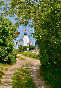 The Gurnet Light viewed from the bottom of the road that winds its way up the hill from the old Coast Guard Station.