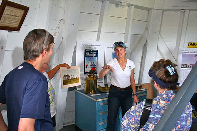 """Dolly Bicknell, the President of """"Project Gurnet & Bug Lights, talks about  the history of the Gurnet Light during one of the many tours that were given as a part of their annual open house."""