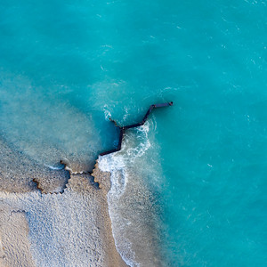 Point Betsie Breakwall Square Aerial