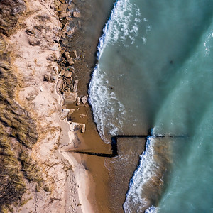 Waves Crashing at Point Betsie from the Sky
