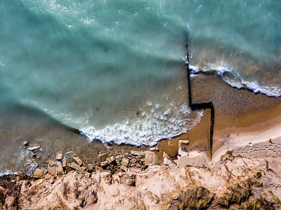 Beach and Breakwall Aerial at Point Betsie
