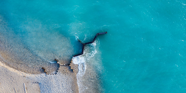 Point Betsie Beach and Breakwall Aerial
