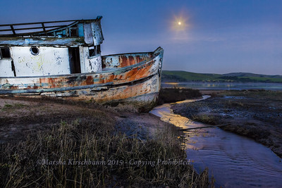 Moon over Old Point Reyes Boat