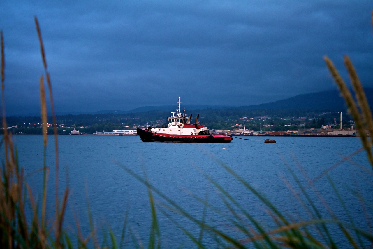 One of the Tug Boats anchored in Port Angeles for the evening.