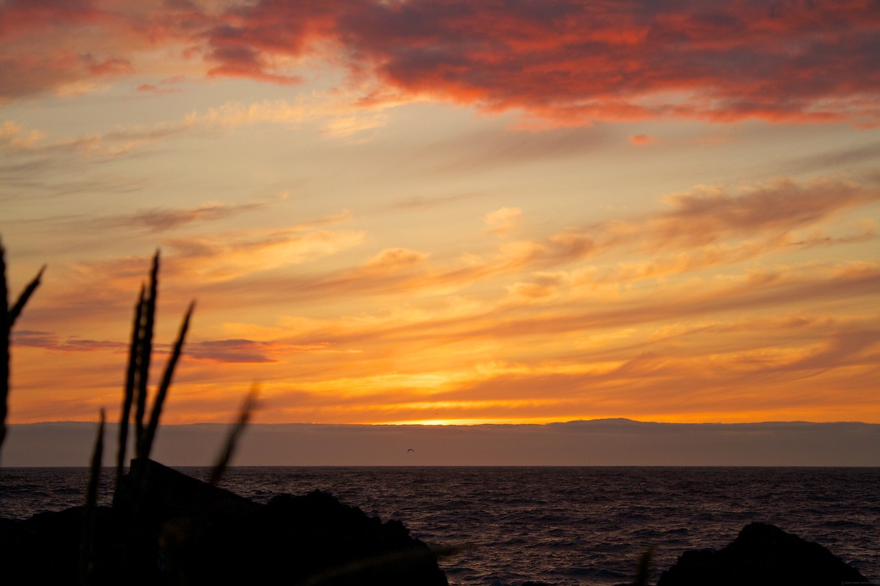 """There is a U.S. Coast Guard station on a peninsula called """"The Hook"""". This a the sunset from there."""