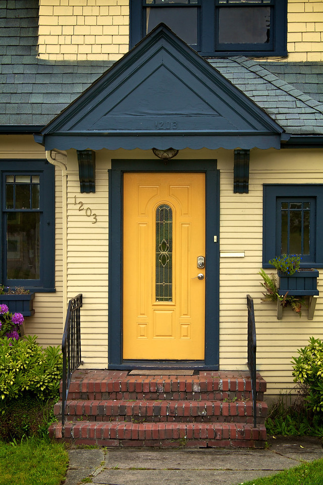 Interesting door, architecture and color combination from a house in a Port Angeles neighborhood. So different from SoCal.