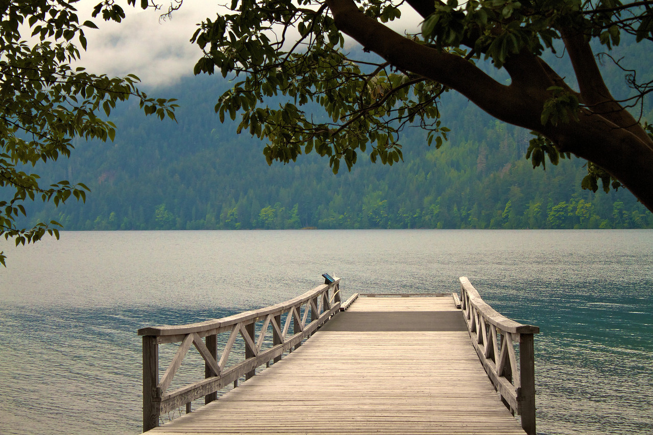 Lake Crescent is about a 45 minute drive west of Port Angeles.
