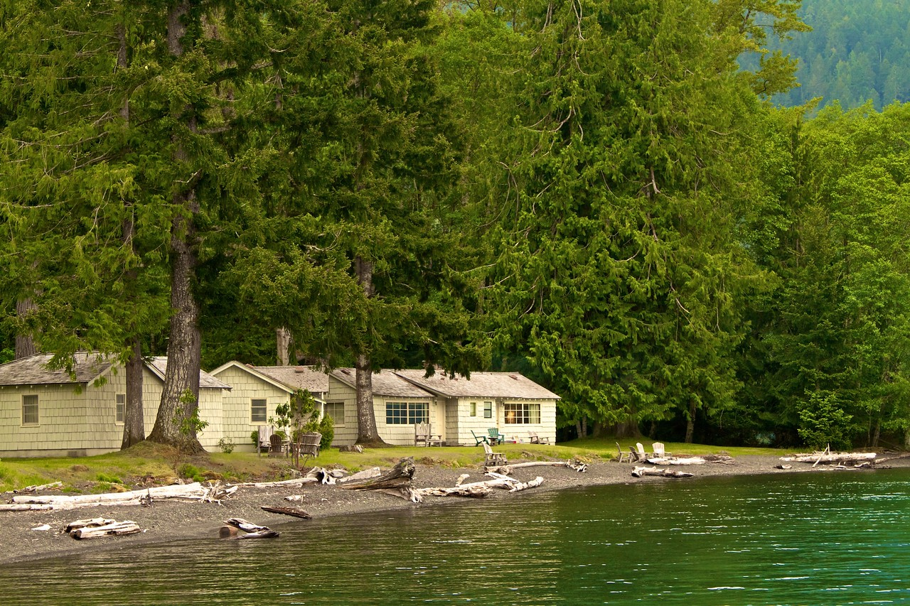Cabins and Driftwood on Lake Crescent.