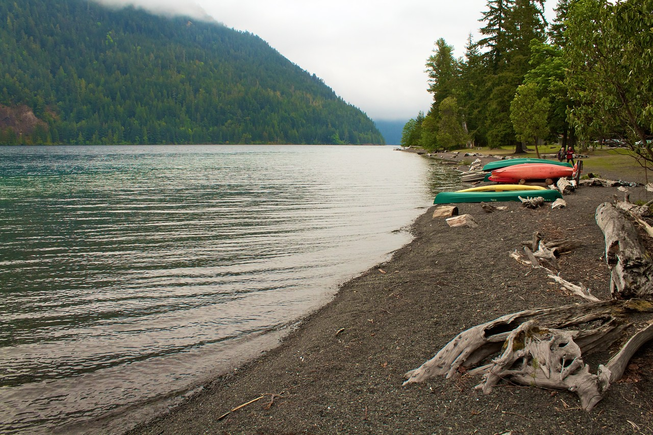 Canoes on the shore of Lake Crescent.