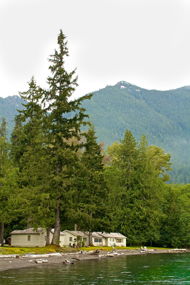 You can rent cabins and stay right on Lake Crescent.