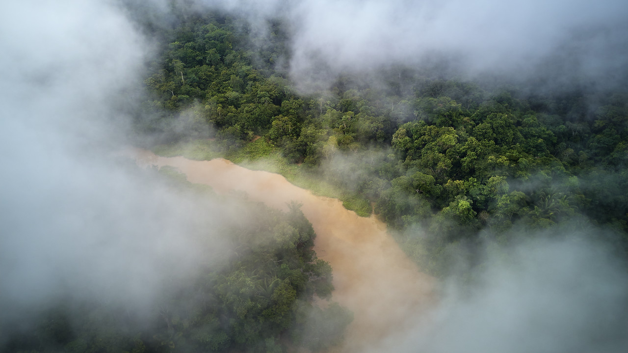 Challuacocha lake through the clouds