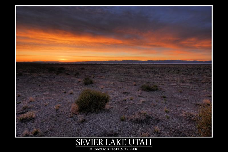 Sevier Lake Utah before sunrise. Seven Exposures.