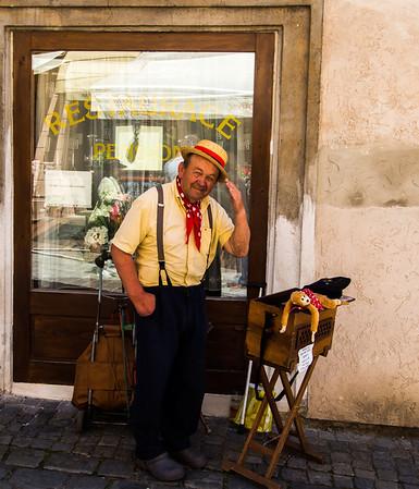 Vendor in Cesky Krumlov--medieval town