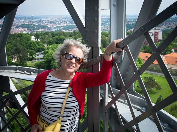 Climbing the tower above Prague
