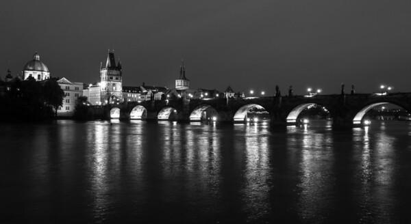 Charles River Bridge at night