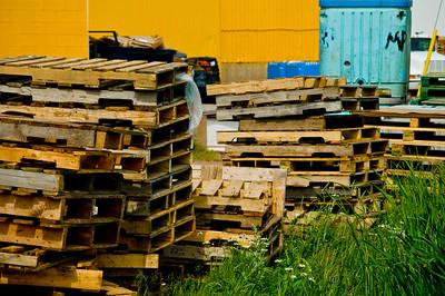 Stacks of cargo pallets at a shellfish processing plant