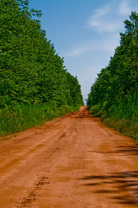 The red soil on Prince Edward Island makes for some very striking color combinations. This dirt road was on the map and had a name. We found a lovely secluded beach area at the end of it.