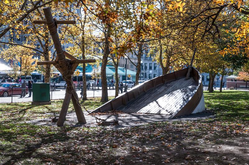 Sunken boat playground piece.