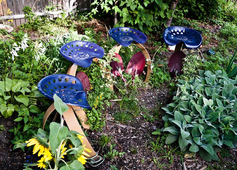 Interesting Art seats in a Garden.