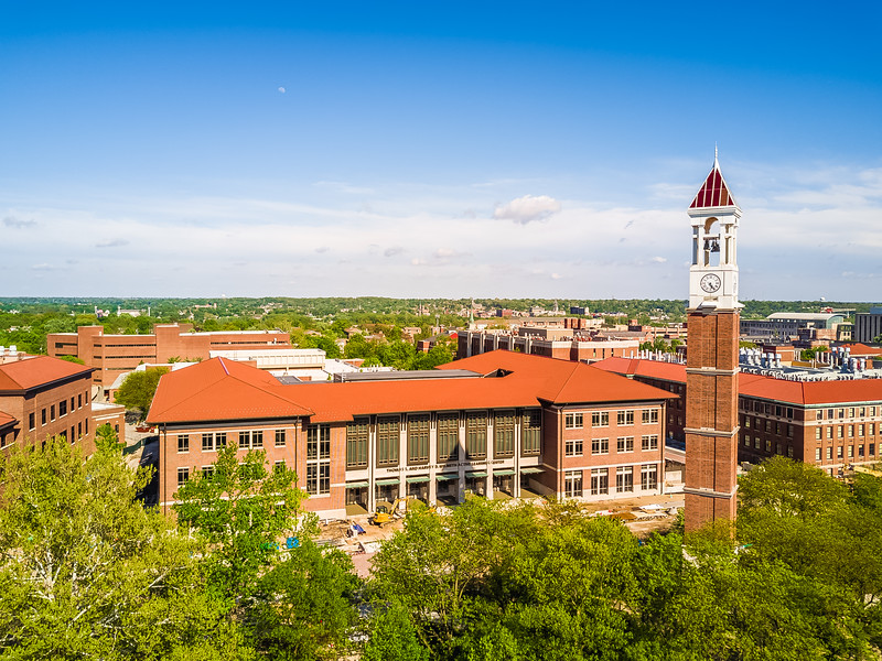 Aerial view of the Bell Tower and Wilmeth Active Learning Center.