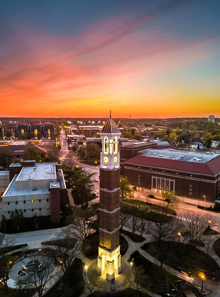 Sunset over the Purdue University Bell Tower