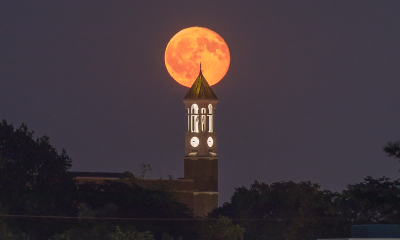 Purdue Bell Tower Moonrise