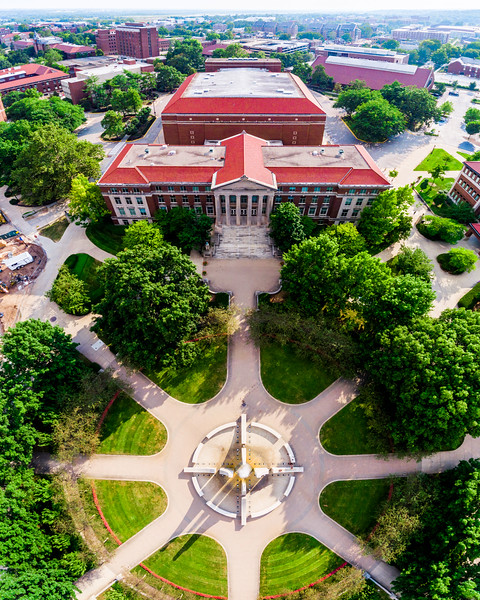 Vertical pano above the Fountain🚂 In case you missed it, check out my latest post on my website for my August 2016 Purdue Wallpapers! (tmahlmann.com - link in my bio) Photo made from 5 HDR images, merged into one panorama taken above the Engineering Fountain this past Thursday, gives a really unique perspective of the fountain, Hovde Hall, and Elliott Hall of Music, looking toward the south-west side of campus. @DJIGlobal #Phantom4 | #HDR