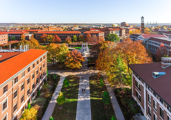 Fall colors above the Purdue University Engineering Mall