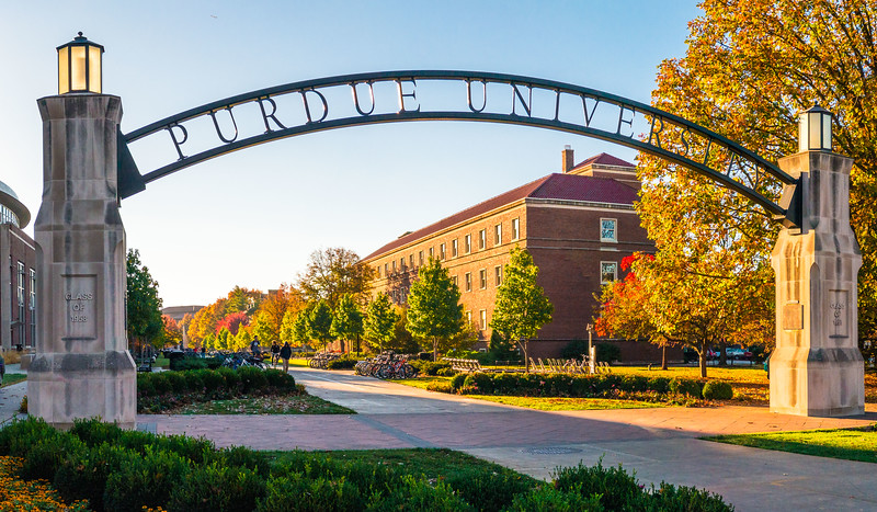 The Purdue University Gateway to the Future Arch at Purdue University at sunrise.